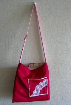 牡丹色羽織バッグ+白レース_前.JPG